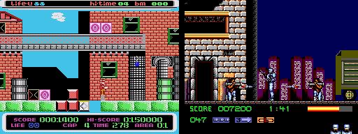 À droite: l'excellent RoboCop 3 sur Master System À gauche: le bide Gangcheol Robocop sur Samsung Gam*Boy