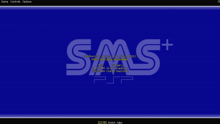 SMSPlus ps vita emulateur master system screenshots accueil