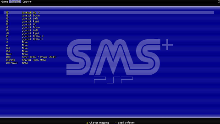 SMSPlus ps vita emulateur master system screenshots onglet controles