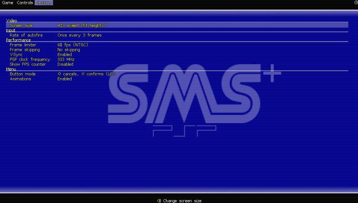 SMSPlus ps vita emulateur master system screenshots onglet options