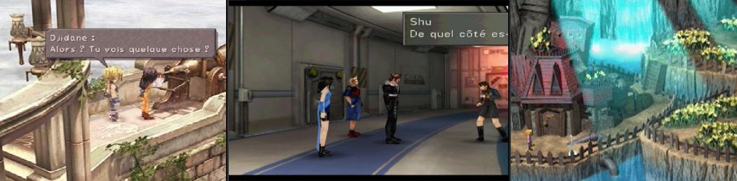 Screenshots de Final Fantasy sur PS1 (de droite à gauche: épisodes VII, VIII et IX)