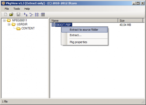 pkgview 1.3 screenshot extract eboot