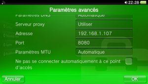 Exemples de paramètres proxy pour le Wi-Fi sur PS Vita