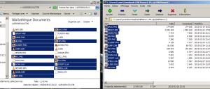 À gauche: le dossier de la sauvegarde World of Pool / À droite: l'archive des fichiers du ONEMenu