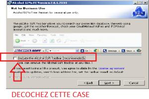 Screenshot décocher case barre outils Alcohol