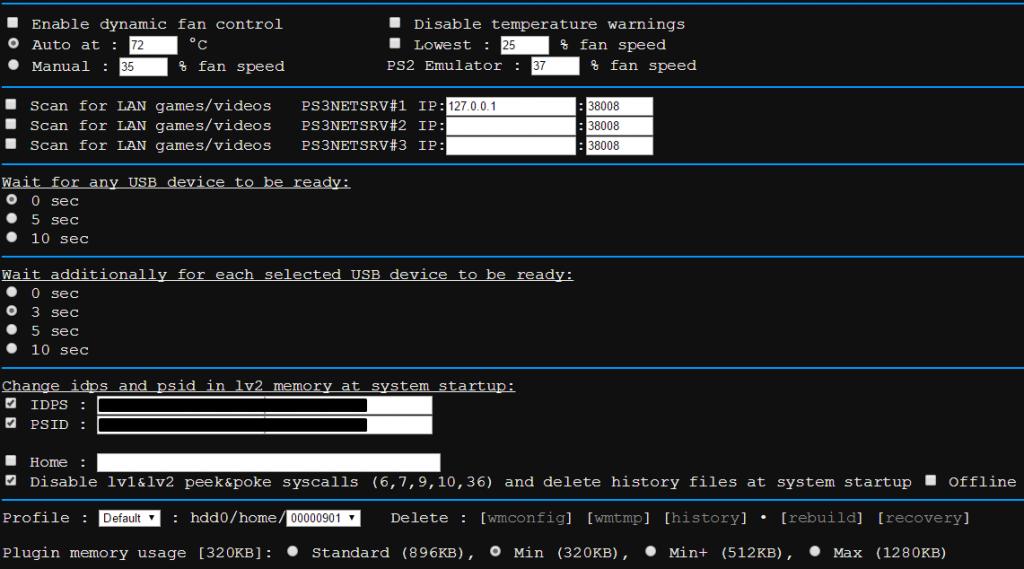 webMAN MOD / Menu Configuration