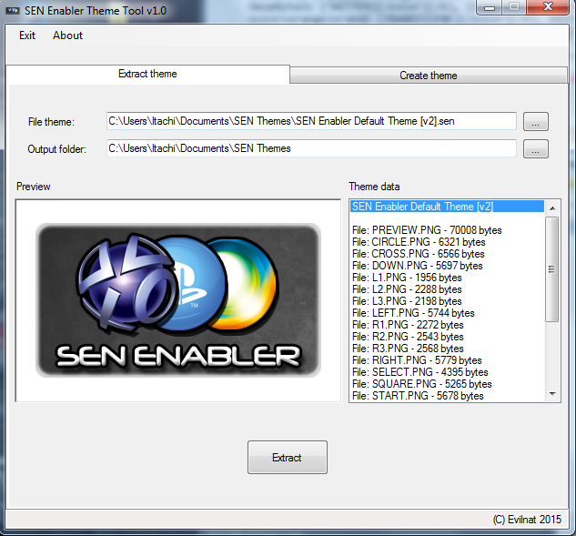 Sen Theme Tool / Fenêtre d'extraction / Par Evilnat / Source Psx-Place