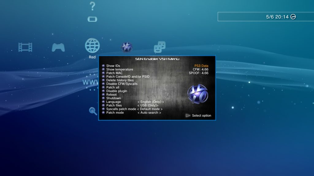 Sen Enabler VSH Menu / Par Evilnat / Source : Psx-Place