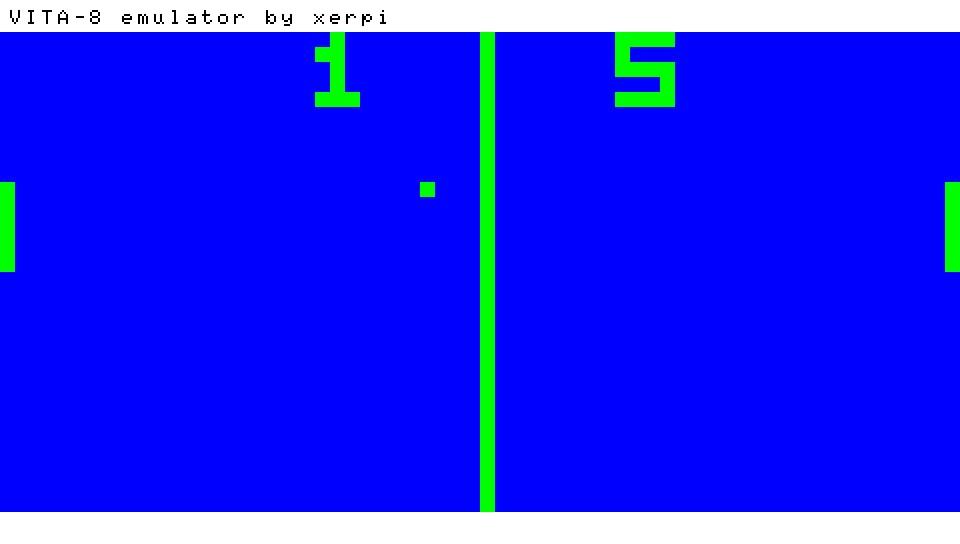 Pong sur le VITA-8, émulateur de CHIIP-8 par Xerpi