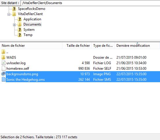 SMSPlus ps vita emulateur master system fichiers transferer filezilla ftp