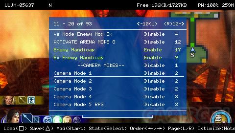 Screenshot de FreeCheat en action Issu du Golden Mod par White Lord pour Dynasty Warriors: Stikeforce 2, voir mon tuto sur GamerGen ici (ex-PSPGen)