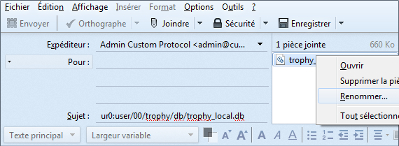 Envoyer mail base de donnes trophees modifies