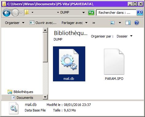 Dump sauvegarde fichier mail.db