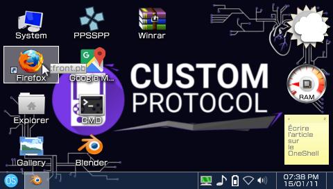 Capture d'écran du menu principal du OneShell