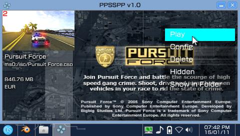PPSSPP sur le OneShell/b>, pour lancer ses homebrews ou backups de jeux PSP/PS1
