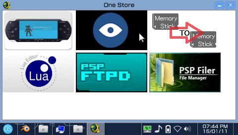 Capture d'écran du One Store du OneShell, pas encore très fonctionnel