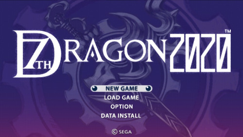 Menu principal de 7th Dragon 2020, traduit en anglais
