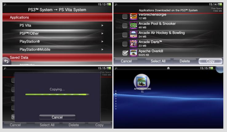Copier jeu PS3 vers PS Vita 4 étapes détaillées tableau