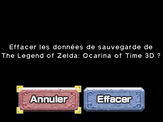 Effacer donnees Ocarina of Time 3D
