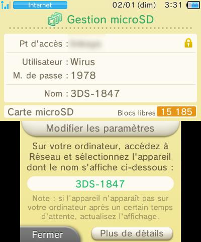 Gestion microSD New 3DS connexion réseau appareil nom