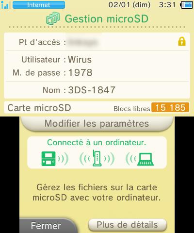 Gestion microSD New 3DS connexion réseau ordinateur reussie