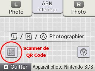 Scanner QR Code 3DS appareil photo apn emplacement