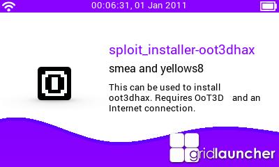 """Voici à quoi ressemble l'icône de sploit installer oot3dhax (le """"O"""" entouré d'une bordure blanche)"""