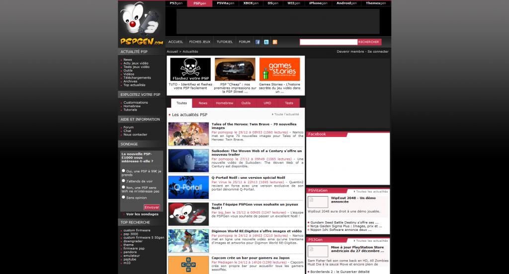 Capture d'écran de PSPGen (29 décembre 2011)
