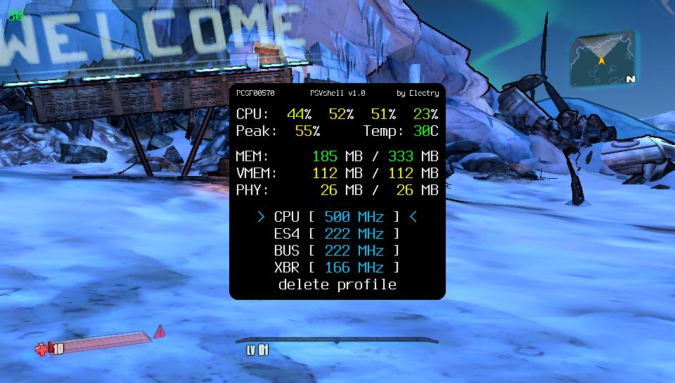 Capture d'écran de PSVshell 1.0 en mode menu complet