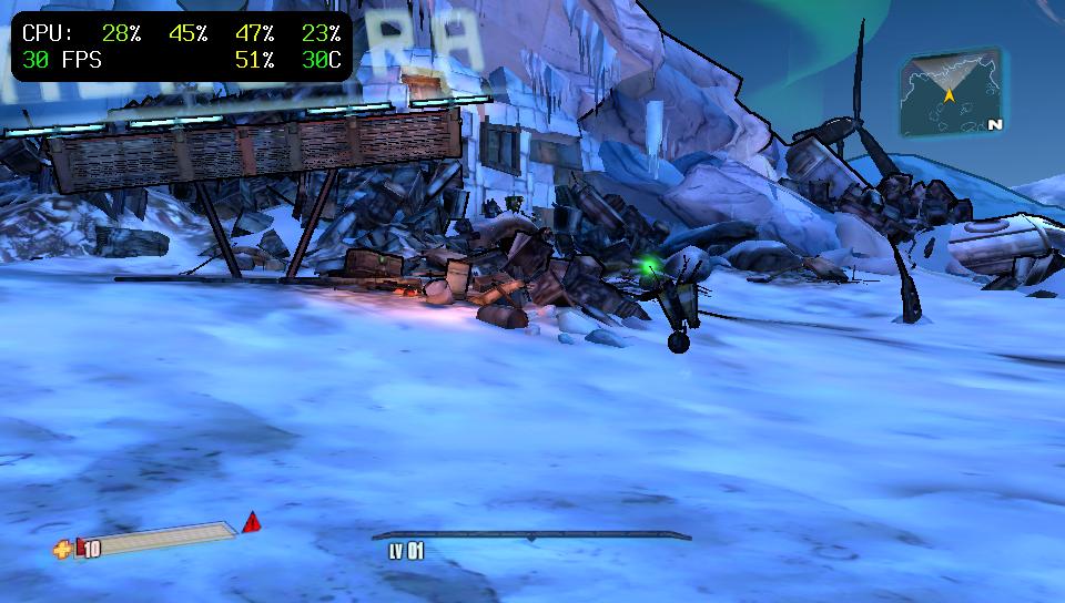Capture d'écran de PSVshell 1.0 en mode HUD (affichage tête haute)