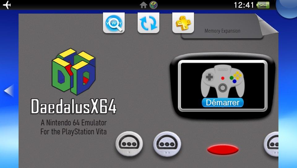 Page de DaedalusX64 sur le LiveArea de la PS Vita